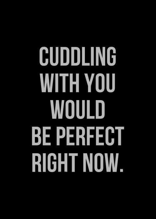Cuddling with you would be perfect, right now.