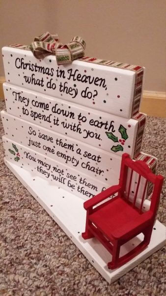 Christmas In Heaven, What Do They Do? They Come Down To  Earth To Spend It With You. So Save Them A Seat Just One Empty Chair.You May Not See Them But They Will Be There.